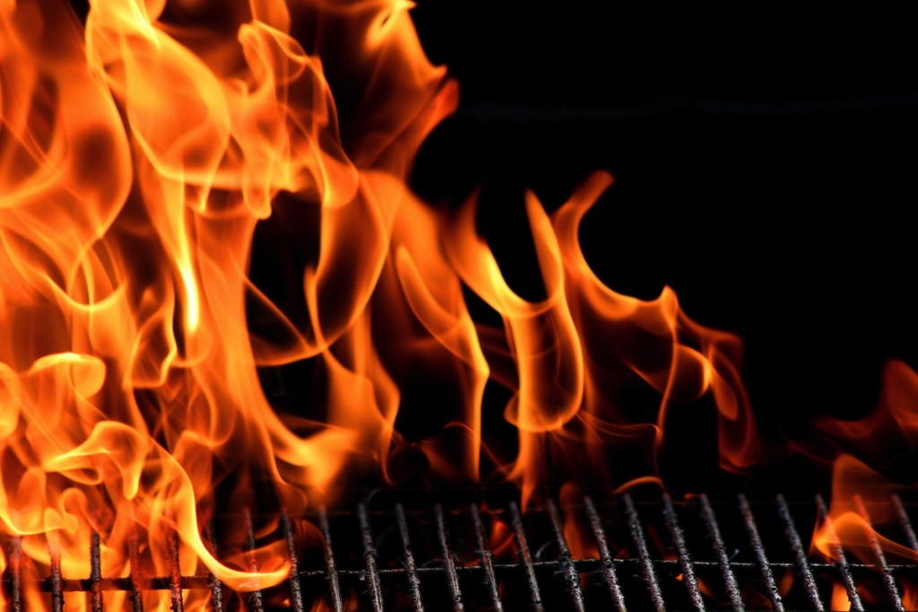 Barbecue grill flame